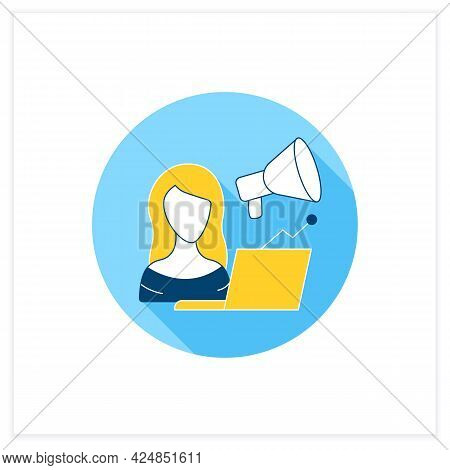 Marketologist Flat Icon. Sales Specialist. Goods And Services Promotion. Girl Works On A Laptop. Wor