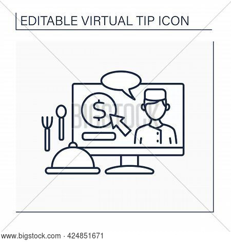 Donations Line Icon. Digital Tips For Chefs. Reward For Delicious Food. Compliment From Customer.vir