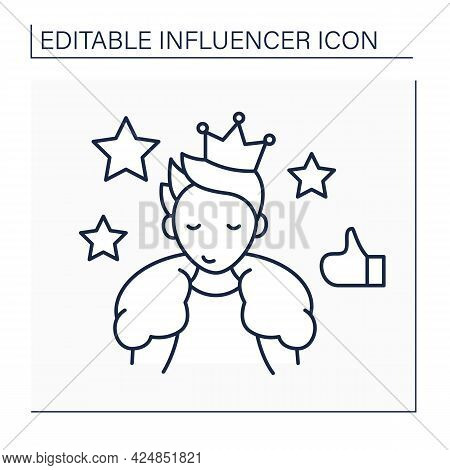 Celebrity Influencer Line Icon. Brand Ambassadors. Famous Person Influence On Audiences. Connecting