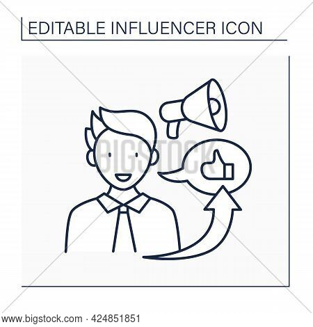 Influencer Marketing Line Icon. Promote Products Or Services Through Influencers.marketing In Social