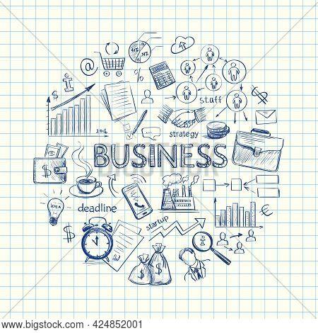 Infographics On Business Strategy . Schematic Representation Perosnala , Marketiga , Finance And Man