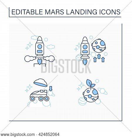 Mars Landing Line Icons Set. Uninhabited Planet. Landing On Surface, Life On Mars, Mission, Launch R