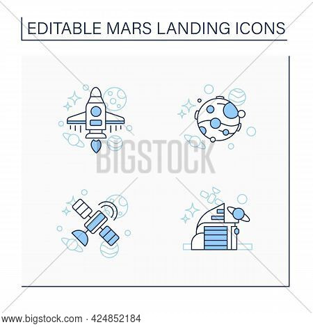 Mars Landing Line Icons Set. Uninhabited Planet. Satellite, Space Center, Spaceship, Mars. Cosmos Co