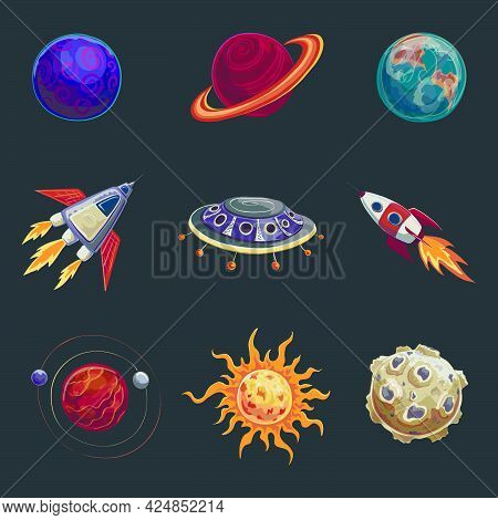 .set Of Color Drawings In The Style Of Cartoon On Space. The Planets , Spacecraft , Sun, Rocket, Ali