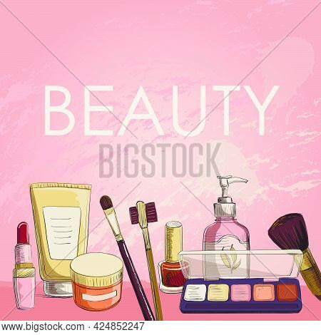 Vector Poster Cosmetics, Make-up . On A Pink Background Bouquet Of Decorative Cosmetics