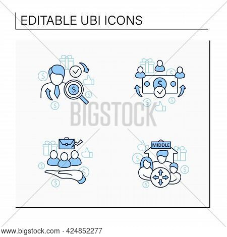 Universal Basic Income Line Icons Set. Dilative Class, Supporting Workers, Universal Payment, Indivi