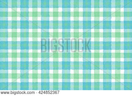 Green Blue Turquoise Checkered Old Vintage Background With Blur, Gradient And Grunge Texture. Classi