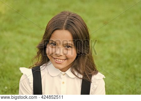 When You Look Good You Feel Good. Back To School Look. Happy Kid Smile In Uniform Outdoors. Beauty S