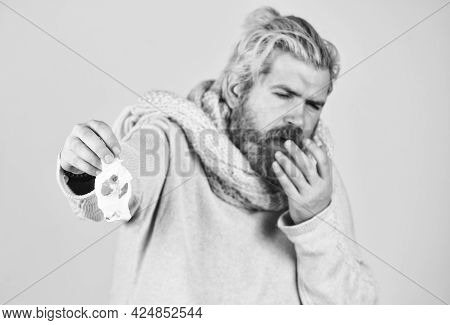 Stuffed Nose. Flu Virus. Coronavirus Outbreak. Home Treatment. Brutal Man Runny Nose. Epidemic Conce
