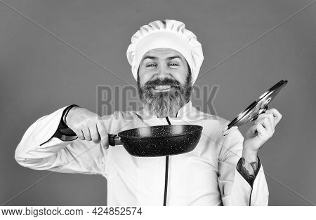 Healthy Life. Cooking In Pot. For Preparing Food. Bearded Man Cooking In Kitchen. Culinary And Cuisi