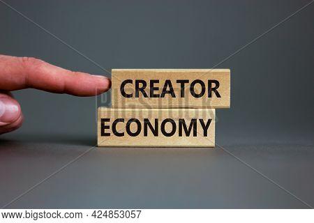 Creator Economy Symbol. Wooden Blocks With Words Creator Economy On Beautiful Grey Background, Copy