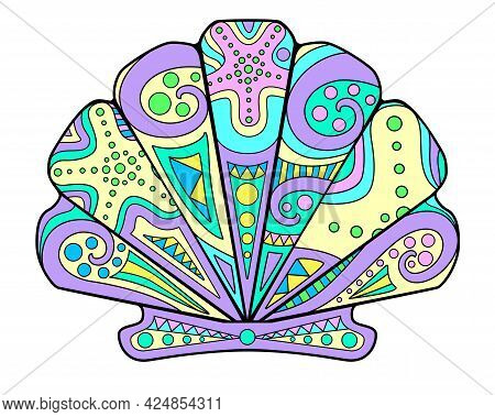 Scallop Shell - Vector Linear Full Color Zentangle Illustration - With Sea Animal Mollusk Living In