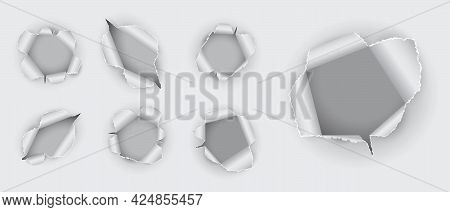 Set Of Realistic Hole Torn In The Paper Isolated Or Various Holes Torn In Ripped White Paper Or Hole