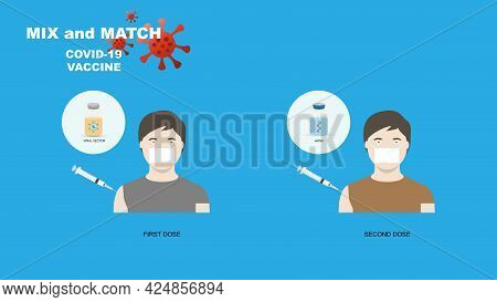 Mix And Match Covid-19 Vaccination. Illustration Of Different Type Of Covid-19 Vaccination In First