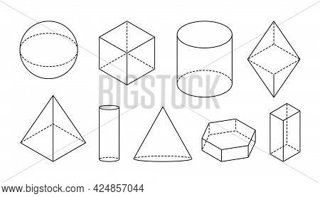 Volumetric Basic Geometric Shapes. Black Linear Simple 3d Figure With Dashed Invisible Shape Lines.