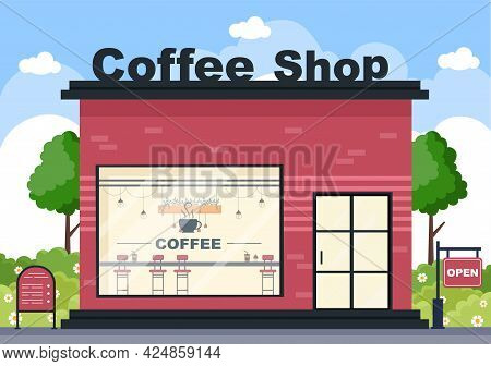 Coffee Shop Illustration With Open Board, Tree, And Building Store Exterior. Flat Design Concept