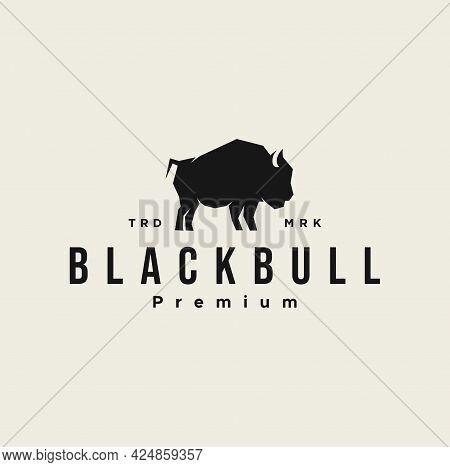 Black Bull Logo Design Vector Illustration Template. Vintage Retro Buffalo, Cattle, Angus And Bison