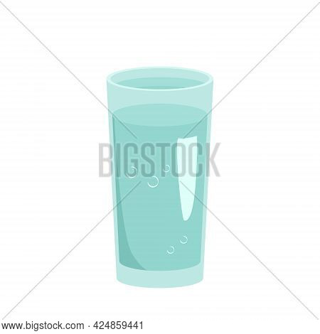 Glass Tumbler Filled With Water. Utensils For The Kitchen, An Item For Cooking And Drinking. Vector