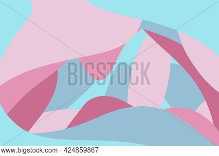 Set Of Abstract Shapes Lines Of Pink Red And Cyan Colors Hand Drawn Digital Illustration