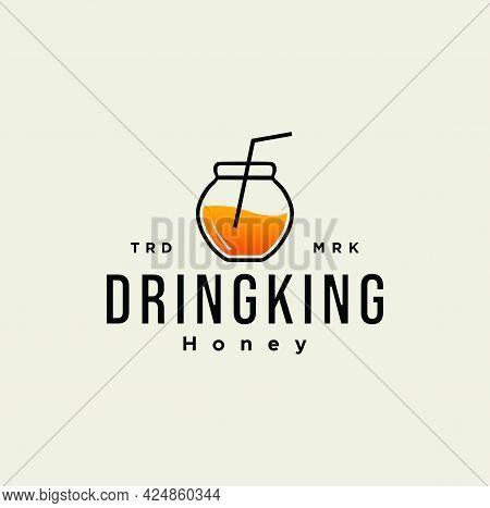 Honey Jar With Straw Logo Design Vector Stock Illustration Template Icon. Honey Bottle Glass Drinkin