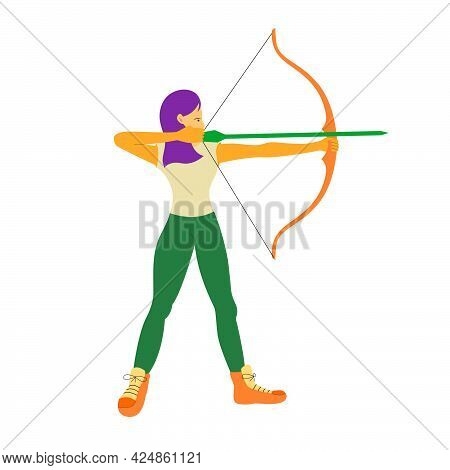 A Young Archer Woman Pull The Arrow From His Bow To Hits The Target. Flat Vector Design Character Il