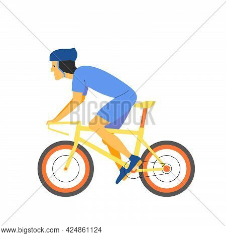 A Sporty Cyclist Man Rides His Bike With Enthusiasm. Flat Vector Design Character Illustration With