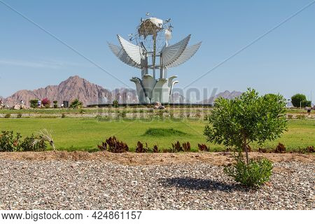 Sharm El Sheikh, Egypt - June 3, 2021: Peace Square In Sharm El Sheikh City In Egypt With Monument A