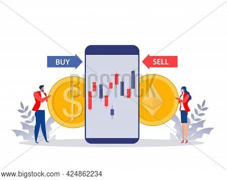 Man And Woman Exchange Buy And Sell Price Ethereum Coin With Dollar Coin. Flat Vector Illustration C