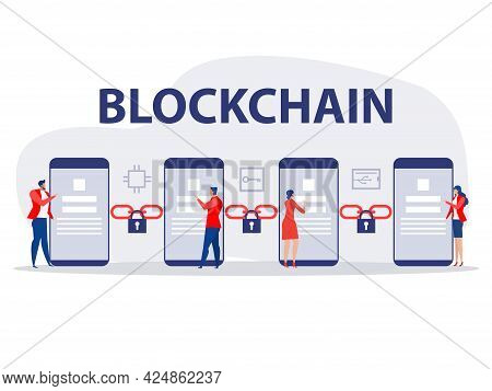 People Use Technology Cryptocurrency And Blockchain Network Concept Vector Illustration