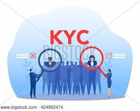 Kyc Or Know Your Customer With Criminal Through A Magnifying Glass Vector Illustrator