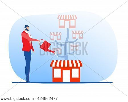 Franchise Shop  Business With Growth Tree.  Real Estate Business Promotional  Sme Flat Vector Illust