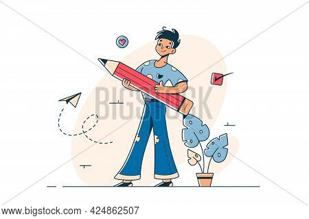 Young Guy With Pen Filling Form Vector Illustration. Man Holding Tool For Writing Flat Style. Corres
