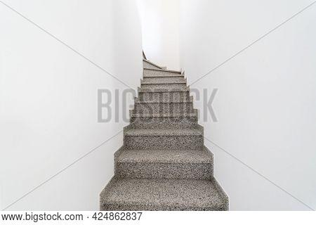 Modern Wood Stairway. Interior Granite Grey Stairs. Staircase Going Up Or Down. Pathway Of Stairway