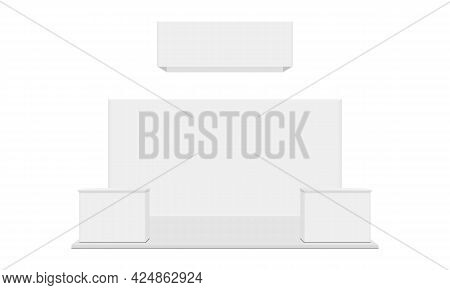 Exhibition Booth With Hanging Banner And Demonstration Tables, Isolated On White Background, Front V