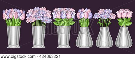 Vector Set Of Flowers In Vases, Lot Collection Of 6 Cut Out Illustrations Of Flower Bouquets In Stai