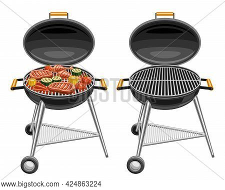 Vector Illustrations Of Barbecue Grills, Bbq Grill With Roasted Pork Steaks And Tasty Grilled Vegeta