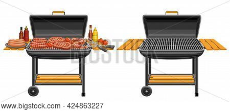 Vector Illustrations Of Barbecue Grills, Bbq Grill With Fried Pork Steaks And Tasty Grilled Vegetabl