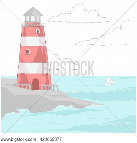 Beacon Standing On Rock Washed By Water Vector