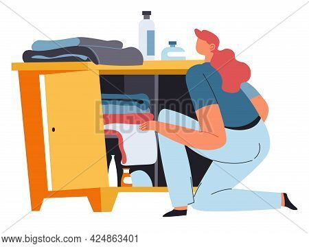 Housewife Busy With Housework, Woman With Clothes