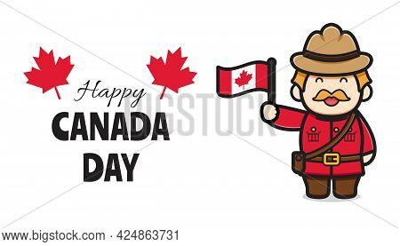 Cute Oldman Character Celebrated Canada Day Cartoon Vector Icon Illustration. Design Isolated On Whi