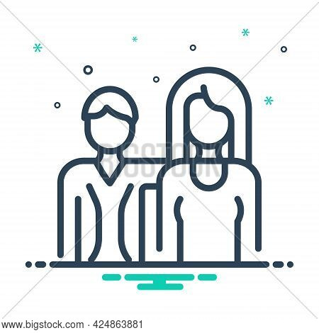 Mix Icon For Couple Duet Spouse Pair Love Person Relationship