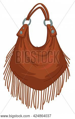 Leather Fringe Bag, Bohemian Or Shabby Chic Style