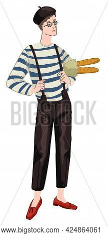 Man With Baguettes Wearing French Style Clothes