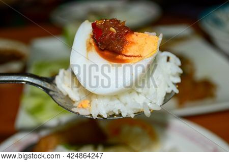 Thai Food, Eat Rice With Shrimp Paste Chili Paste, Boiled Egg And Vegetables, Healthy Food Eating Cu