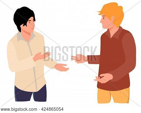 Two Young People Speaking Together. Teenage Or Adult Male Characters Talking. Scene Of Dialog Betwee