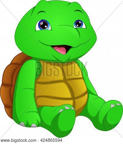 Cute Green Turtle Cartoon On A White Background