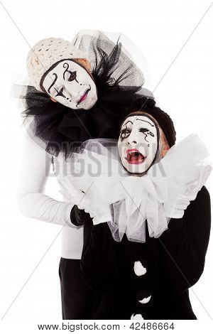 A Couple Sorrowful Clowns Isolated