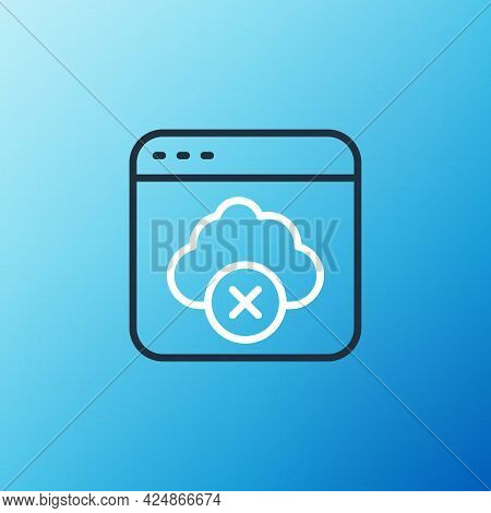 Line Failed Access Cloud Storage Icon Isolated On Blue Background. Cloud Technology Data Transfer An
