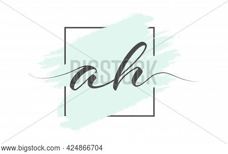 Calligraphic Lowercase Letters Ah On A Colored Background In A Frame. Simple Style