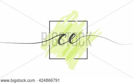 Calligraphic Lowercase Letters Ce In A Single Line On A Colored Background In A Frame. Vector Illust